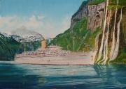Cruiseschip ss. Chusan P&O in de Geirangerfjord 1972