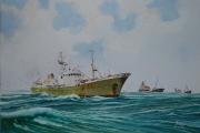 Het laatste hospitaalkerkschip De Hoop op weg naar de vis gronden